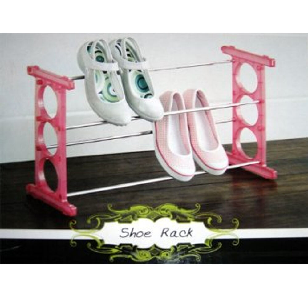 expandable stackable shoe shoes rack organizer pink ebay