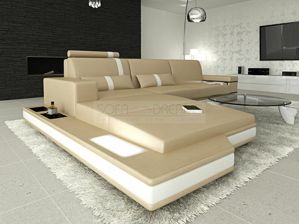 couchgarnitur licht messana design wohnlandschaft sofa ebay. Black Bedroom Furniture Sets. Home Design Ideas