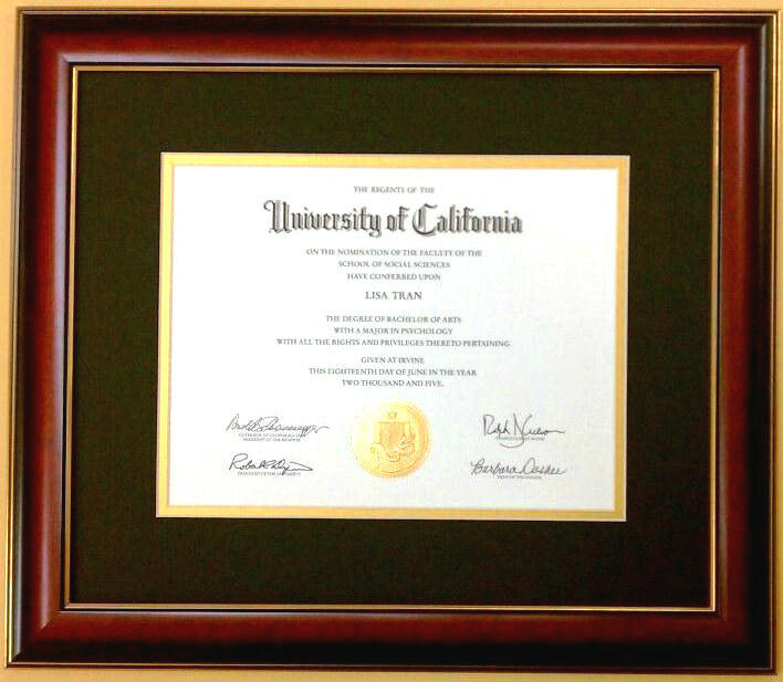 Diploma Mahogany Red Cherry Frame Gold Black Mat Matte