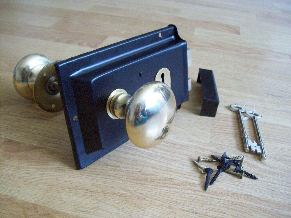 Old Victorian Solid Brass Black Rim Lock Knob Set Ebay