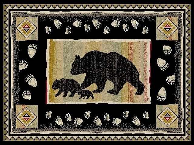 5x8 Lodge Cabin Bear Paw Black Cubs Area Rug Rugs New