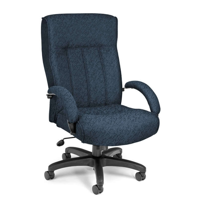 High Back Big And Tall Blue Fabric Executive Office Chair 400 Lbs Capacity Ebay