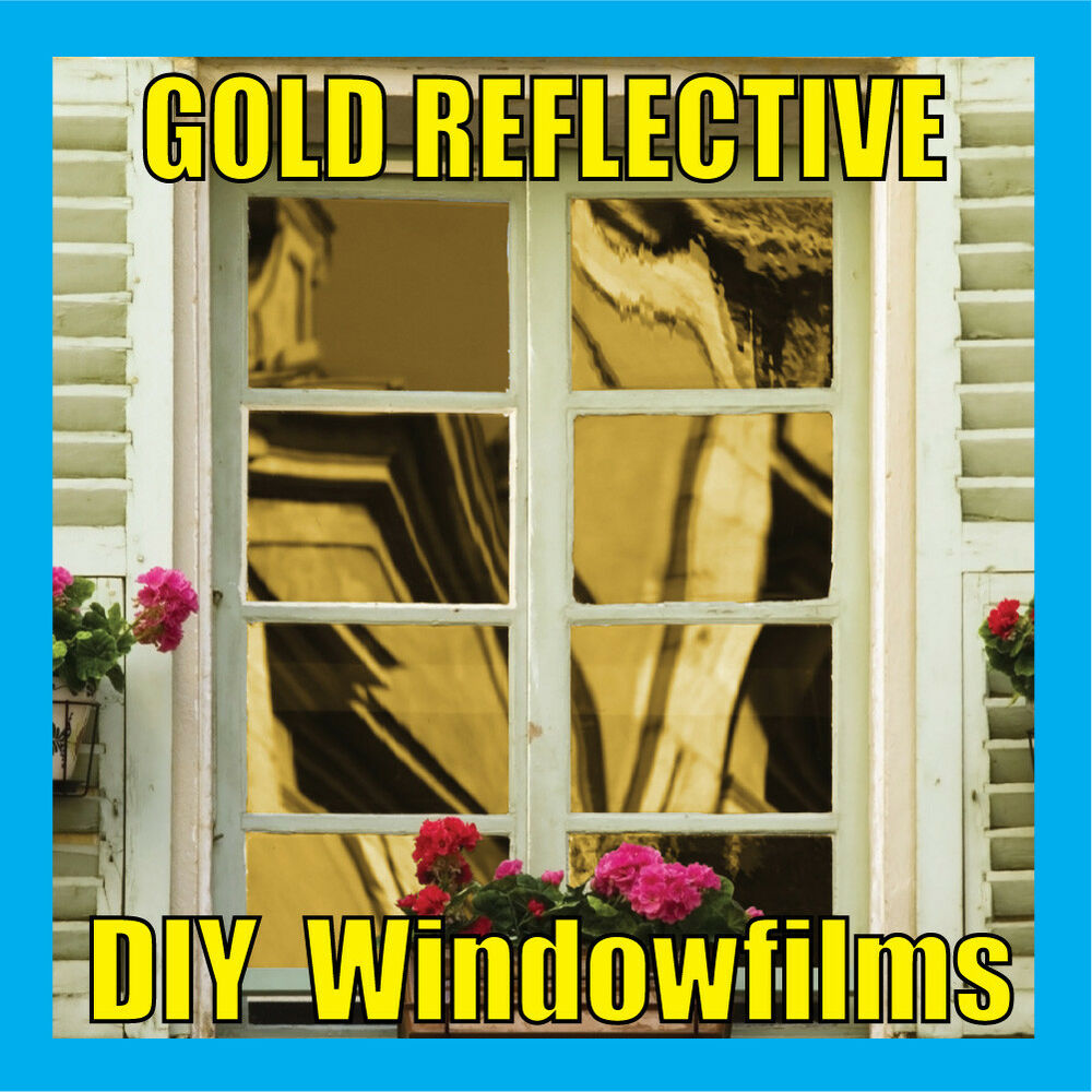 gold solar reflective one way mirror window film tint ebay. Black Bedroom Furniture Sets. Home Design Ideas