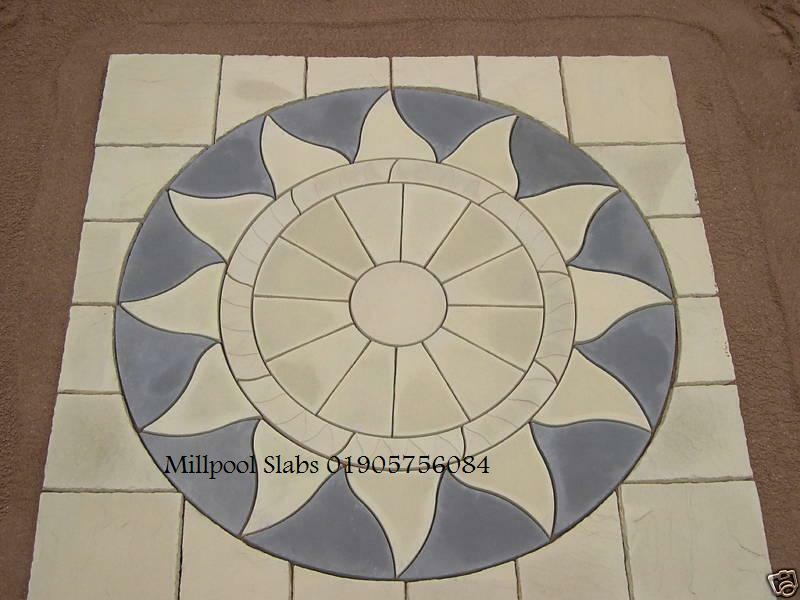 Paving Aztec Sun Circle Sq Off Kits Patio Slab Flags Delivery