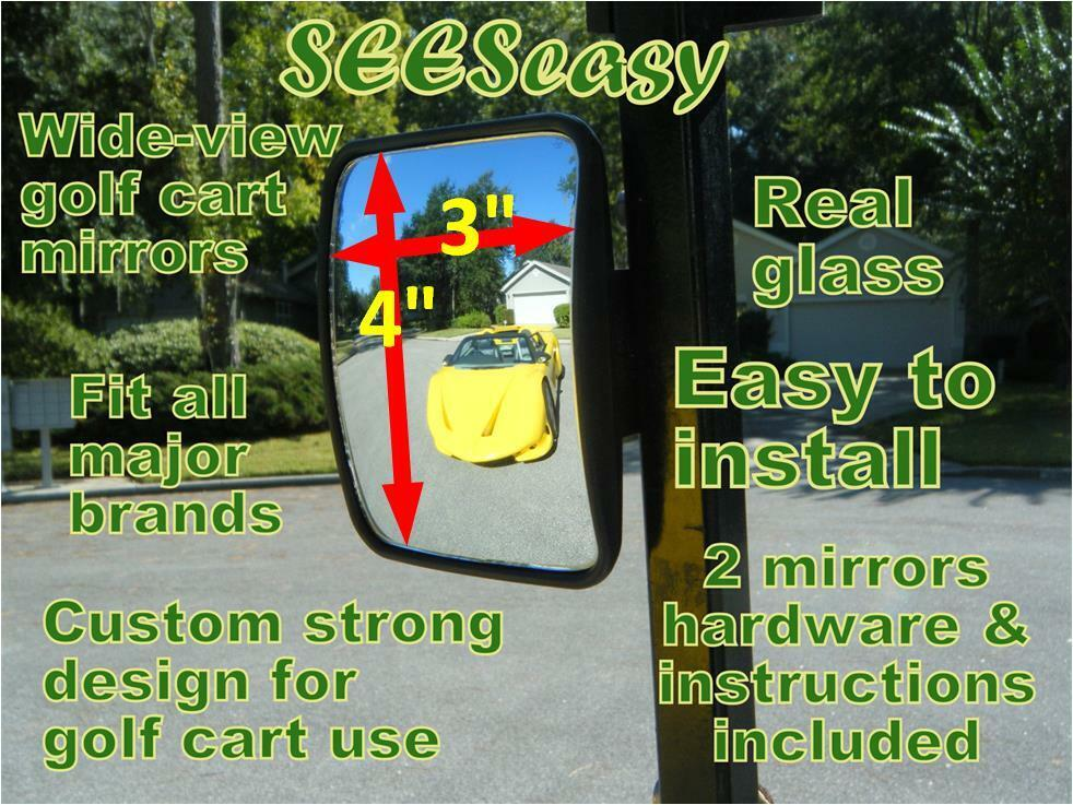Pair Tecscan Seeseasy Mini Golf Cart Rear View Mirrors