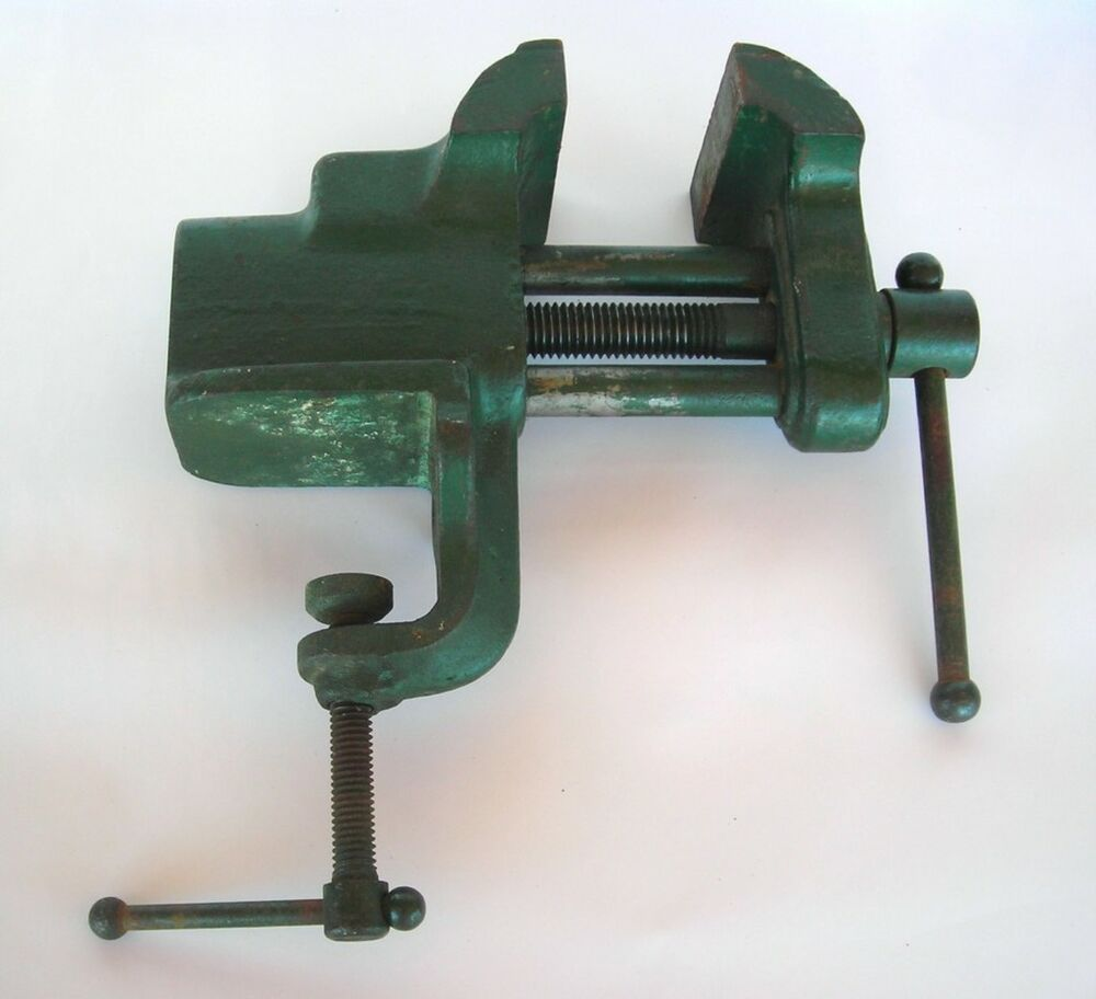 Vtg 8lb Green Workbench Vise 3 Jaw Blacksmith Hobby Tool Ebay