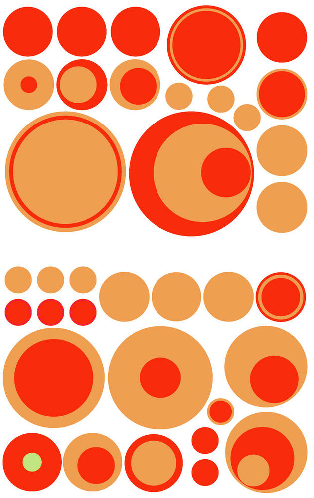 36 DARK LIGHT ORANGE POLKA DOTS GIRL WALL DECAL STICKER