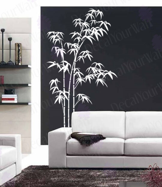 Bedroom Wall Vinyl Stickers : Bamboo wall decal large tree decals living room bedroom