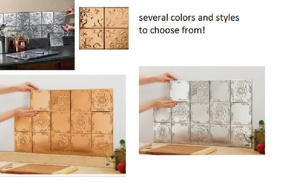 14 lot decorative self adhesive mosaic kitchen wall 6 metal tiles bathroom ebay - Decorative wall tiles for bathroom ...