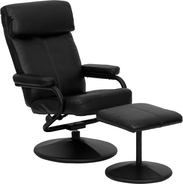 contemporary black leather recliner and ottoman with leather wrapped base ebay. Black Bedroom Furniture Sets. Home Design Ideas