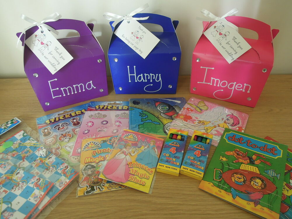 Wedding Gift Box Ebay : Childrens Filled Personalised Wedding Activity Gift Box/Bag eBay