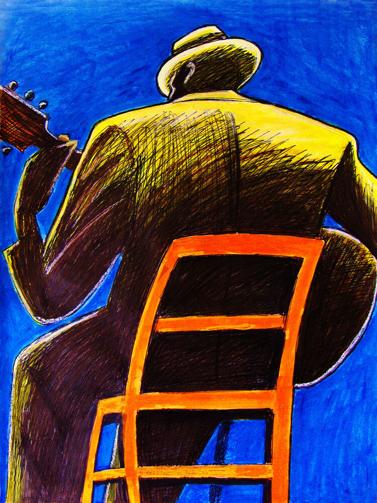 old blues man print poster country delta lonesome blues