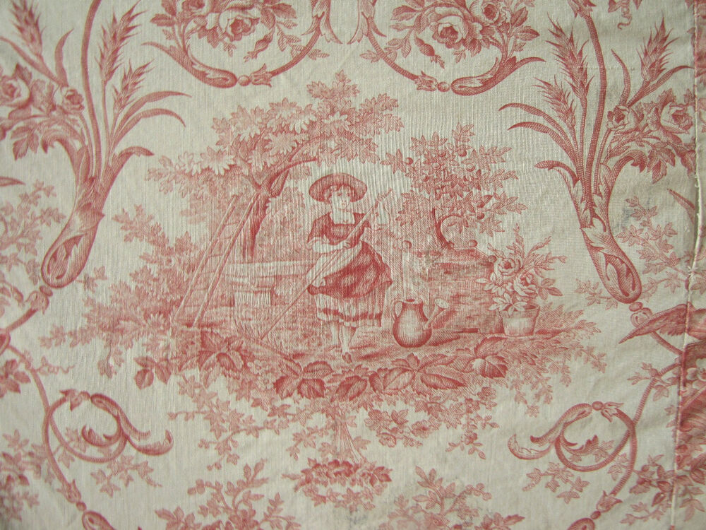 Antique french daybed cover toile de jouy fabric ruffle ebay for French toile fabric