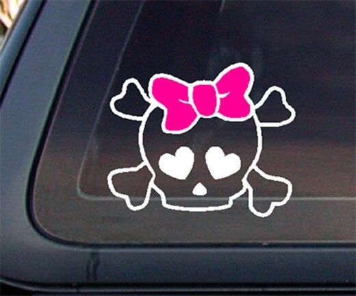 Skull With Pink Bow Car Decal Sticker White Amp Pink Ebay