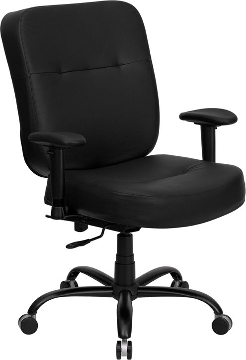 BIG TALL LEATHER COMPUTER DESK OFFICE CHAIR WITH ARMS ...