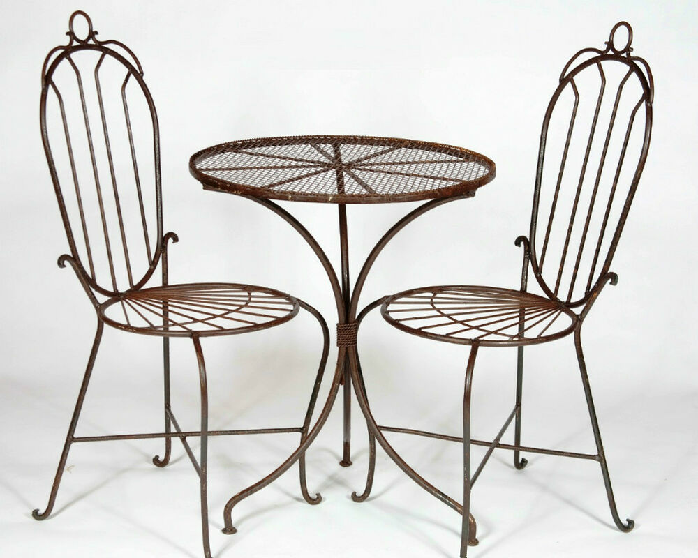 2 wrought iron federal high back chairs and table set for Metal patio table and chairs set