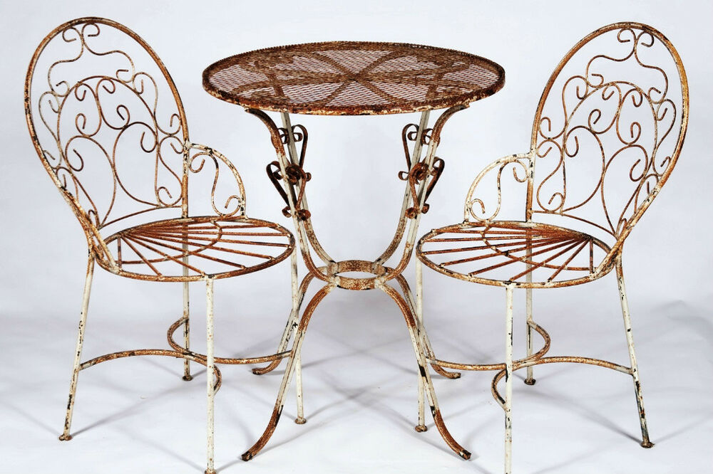 2 wrought iron ice cream chairs and table set metal for Metal patio table and chairs set