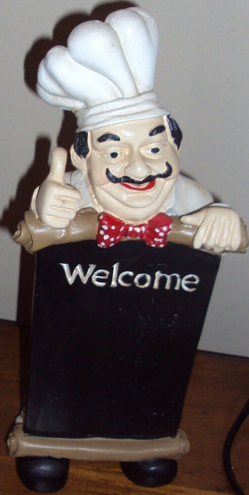 FAT CHEF WAITER WITH WELCOME SIGN MENUE BOARD 11