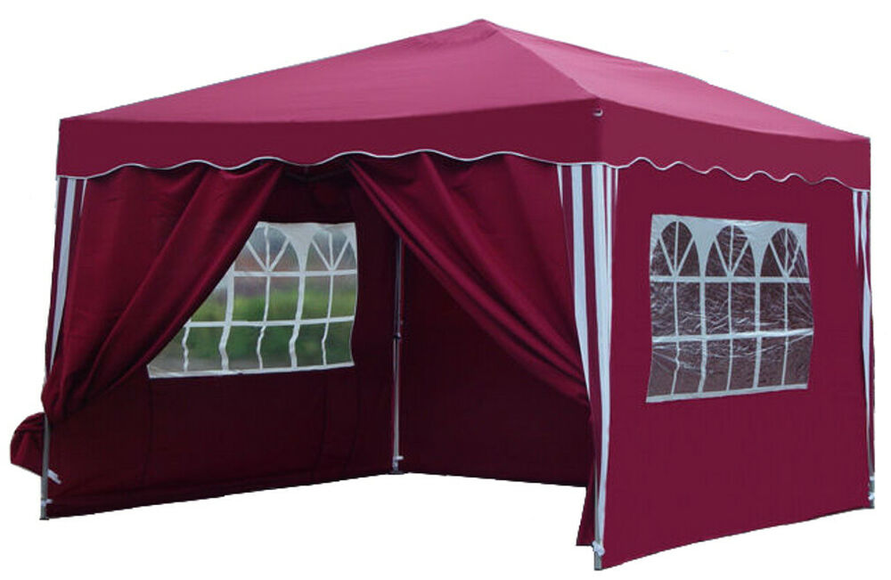 klapp falt pavillon 4 seiten gartenzelt partyzelt dach ma 3x3 m pavillion rot ebay. Black Bedroom Furniture Sets. Home Design Ideas