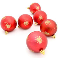 6 Matt Red 7cm Baubles With Gold Glitter Star Design Christmas Tree Decorations