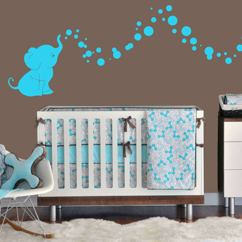 Elephant Decor Ideas: Cutie Elephant Bubbles Wall Decal Vinyl Wall Nursery Room