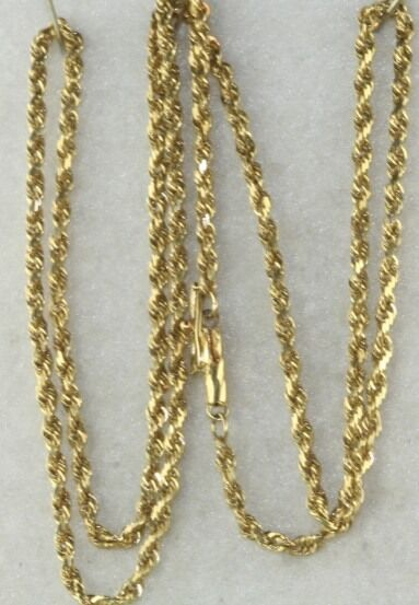used 14k gold 20 inch rope chain necklace 7 5 grams ebay
