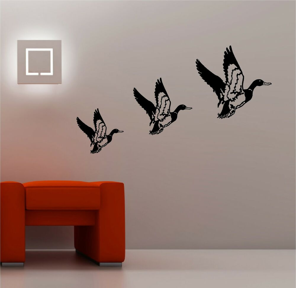 Retro Kitchen Wall Decor: 3 X RETRO FLYING DUCKS Wall Art Sticker Vinyl LOUNGE KITCHEN