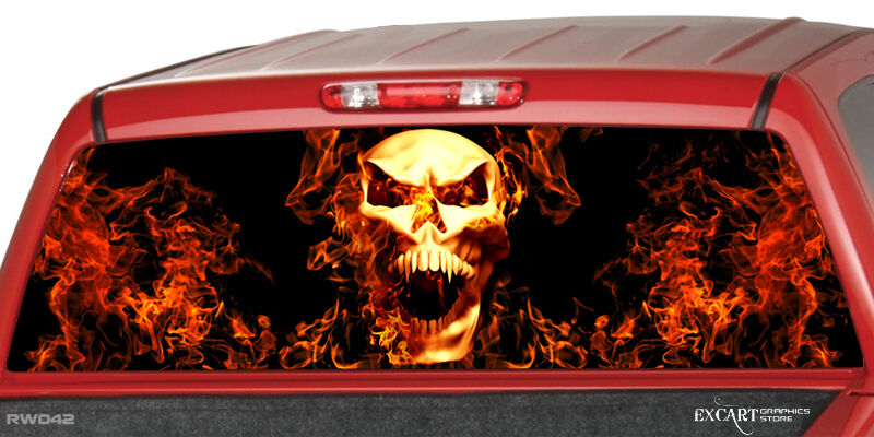 Burning Skull Flaming Flame Rear Window Graphic Decal