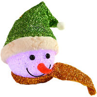 13cm Light Up Battery Hanging EVA Snowman Head With Green Tinsel Hat Decoration