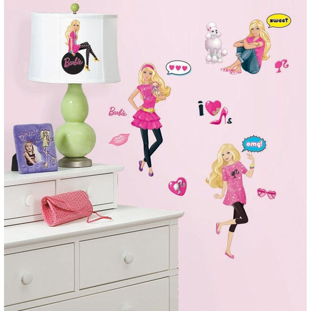 New barbie doll wall decals girls bedroom stickers pink for Barbie wall mural