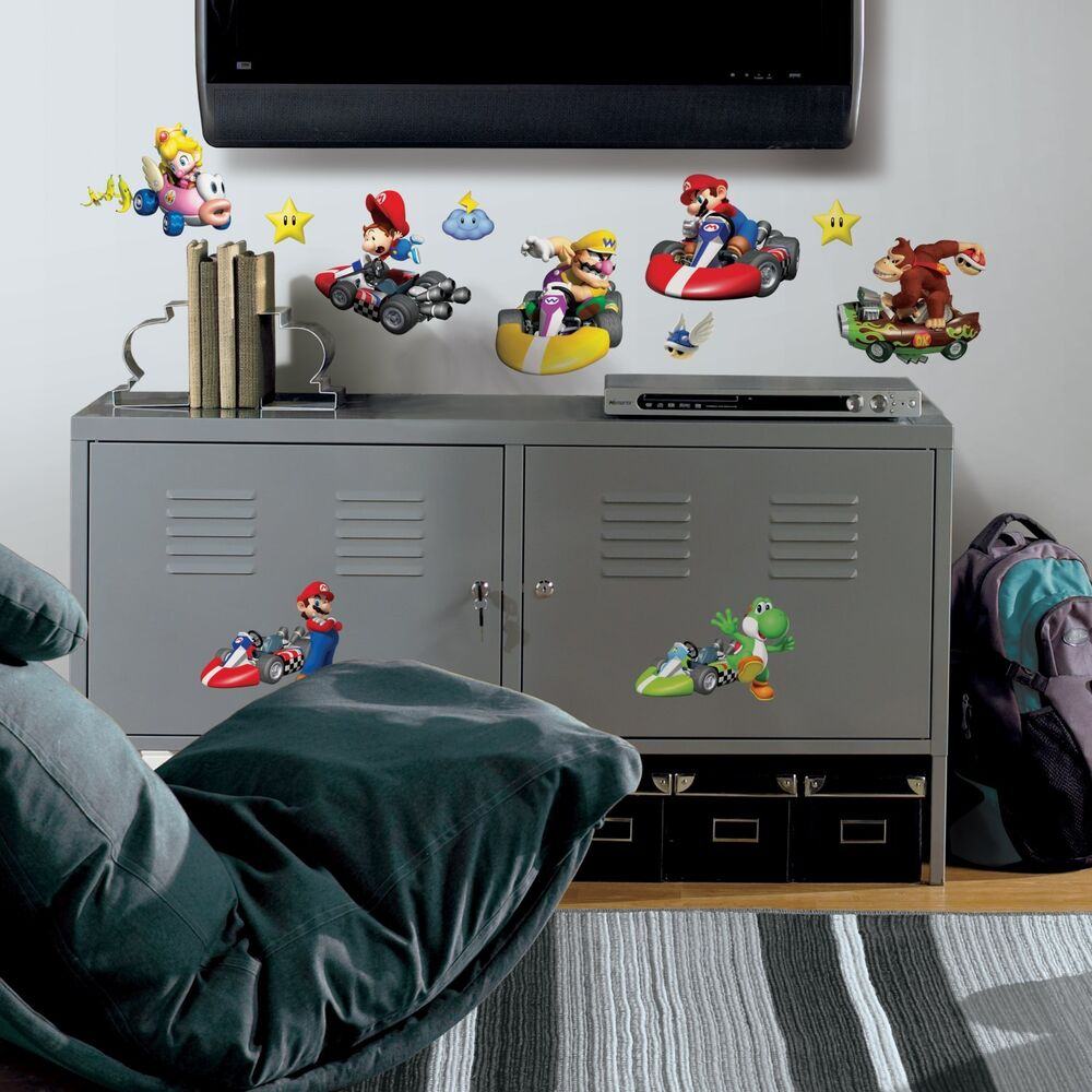 New nintendo mario kart wii wall decals game room for All room decoration games