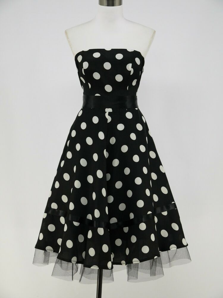 Dress190 Chiffon Strapless Black Polka Dot 50s Rockabilly