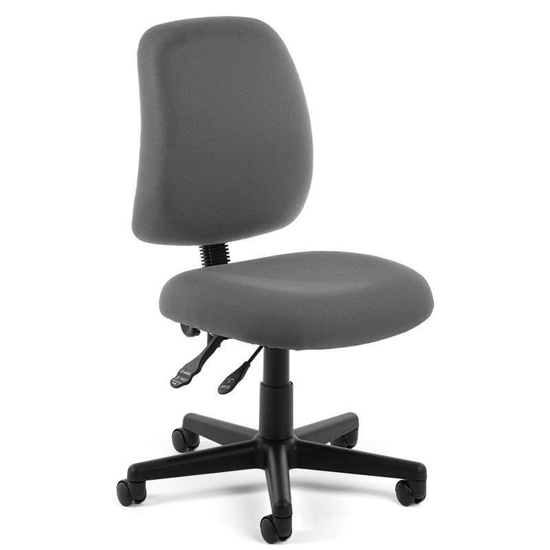 ARMLESS GREY FABRIC ERGONOMIC POSTURE TASK OFFICE DESK CHAIR EBay