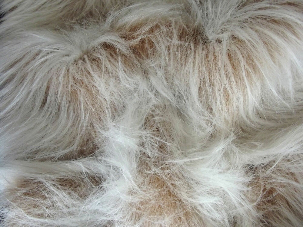 long pile fun faux fur fabric material camel frost ebay. Black Bedroom Furniture Sets. Home Design Ideas