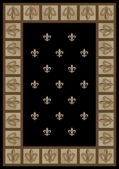 8x10 Area Rug Fleur De Lys French New Modern Black Ebony