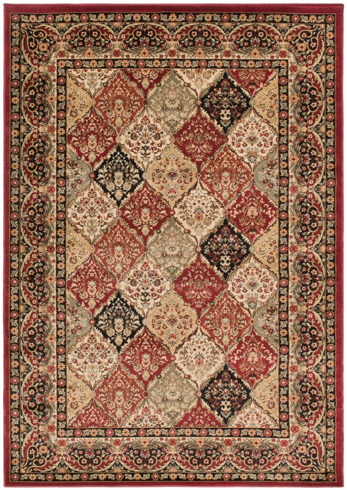 5x8 area rug modern transitional contemporary border panel for Red area rugs contemporary