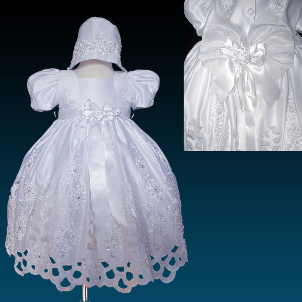 New Infant Toddler Girl White Christening Baptism Dress