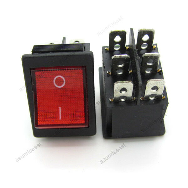 2  u00d7 red 6 pin dpst on off rocker switch with neon lamp ebay lamp wiring diagram two sockets