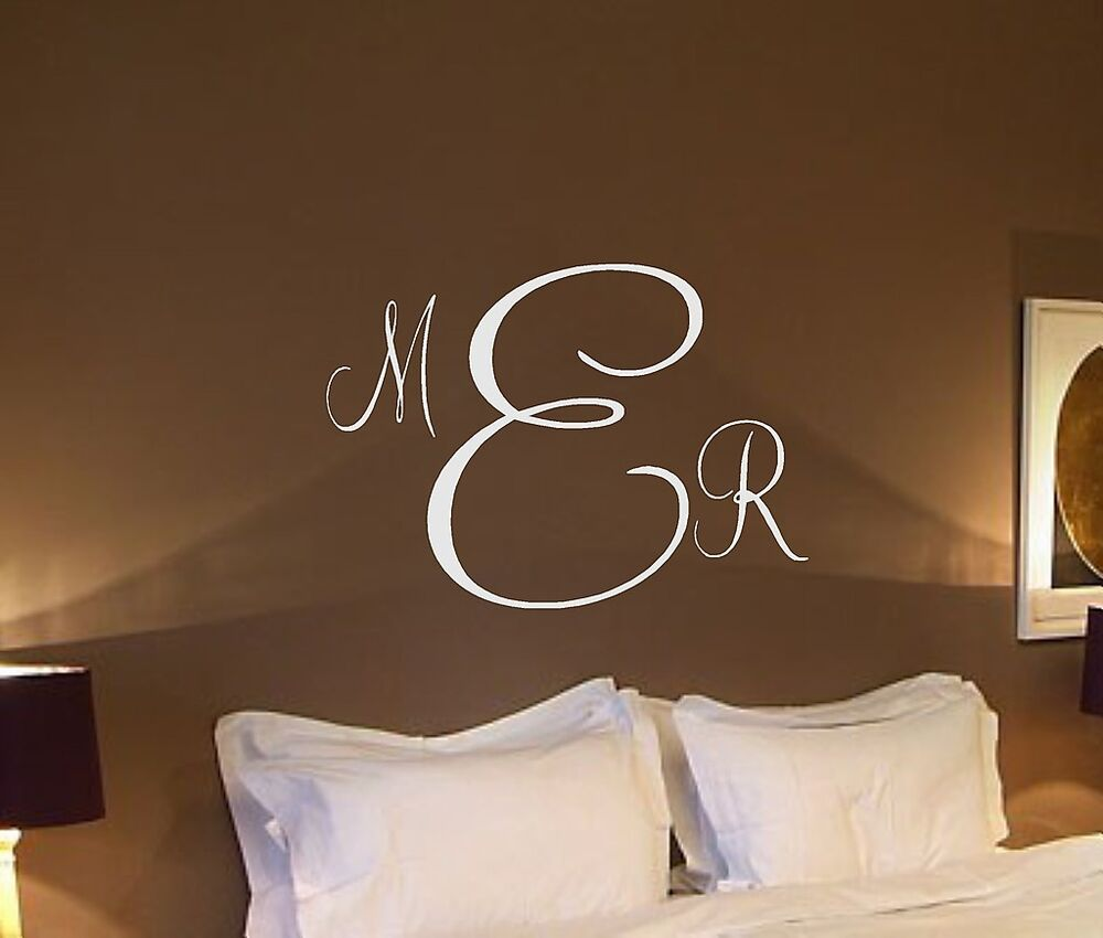 Personalized monogram initials vinyl wall decal home decor for Initial decorations for home