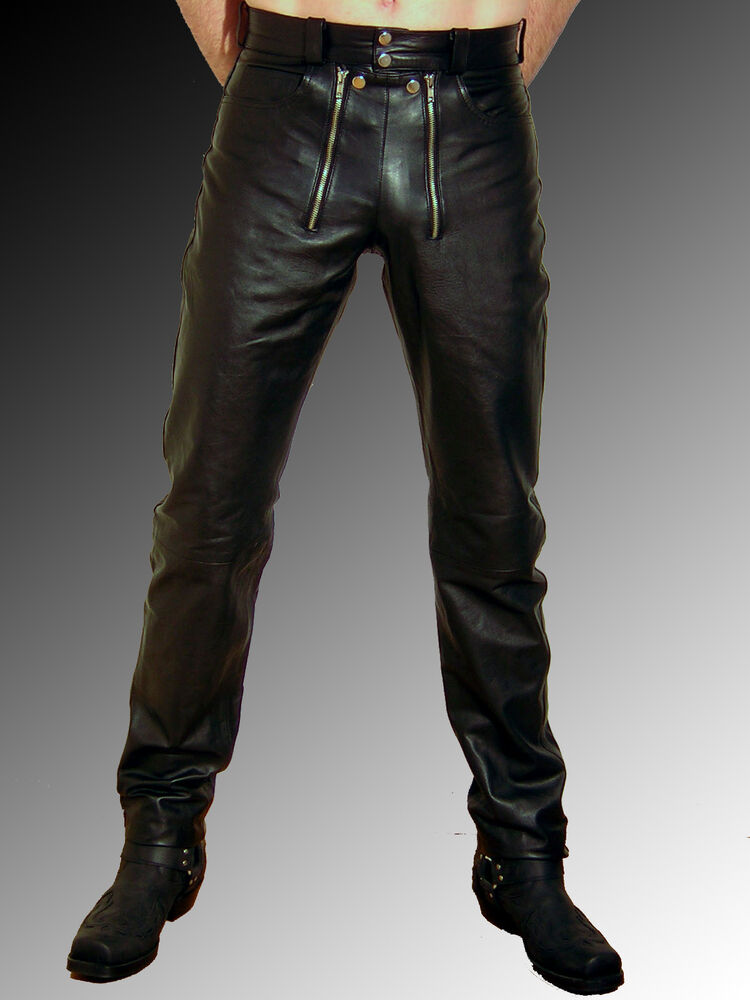 lederhose herren lederjeans neu schwarz m nner zimmermannhose leather trousers ebay. Black Bedroom Furniture Sets. Home Design Ideas