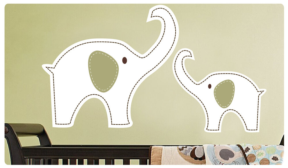 Mom With Baby Elephant Wall Decal Deco Art Sticker Mural