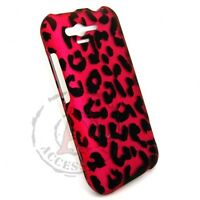 Hot Pink Leopard HARD Protector Case Snap on Phone Cover for Verizon HTC Rhyme