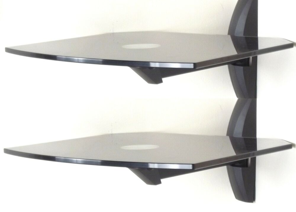 double tier 2 black glass shelves for dvd sky box tv wall. Black Bedroom Furniture Sets. Home Design Ideas