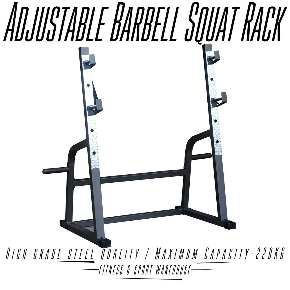 Adjustable Squat Rack Barbell Weight Lifting Stand Bench Press Home Fitness Tool Ebay