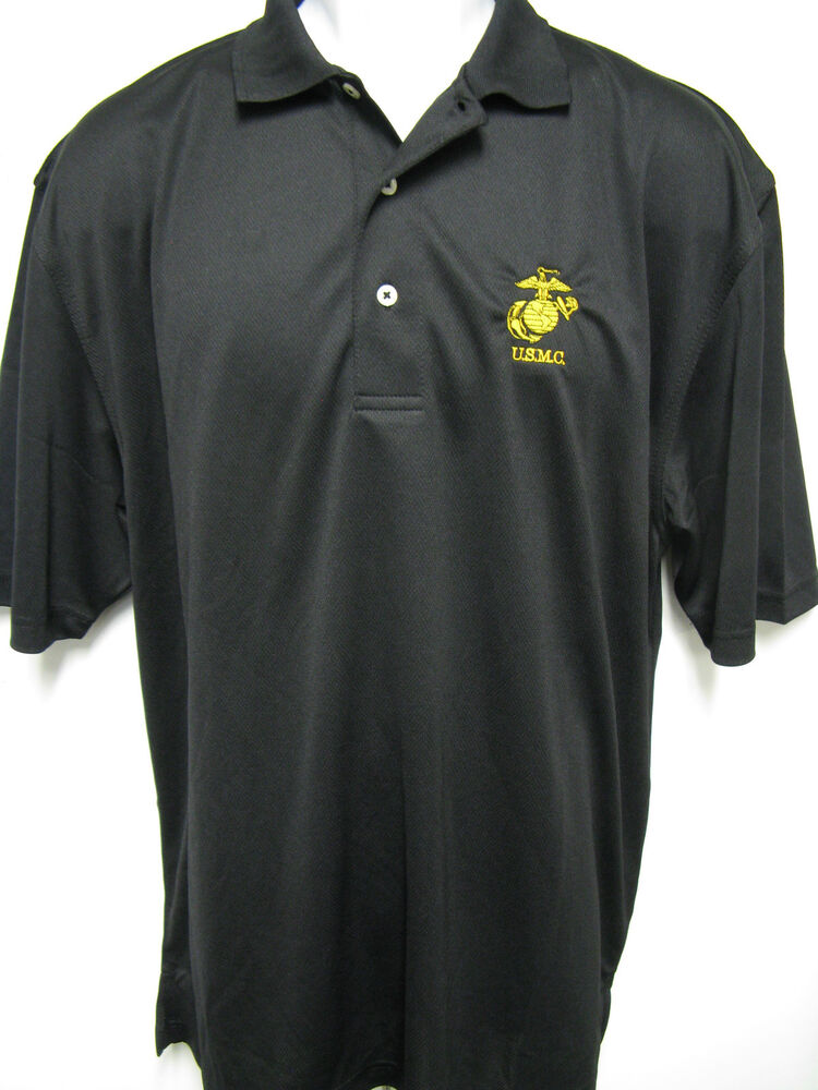 Usmc dri fit embroidered polo t shirt gold embroidery for Nike dri fit embroidered shirts