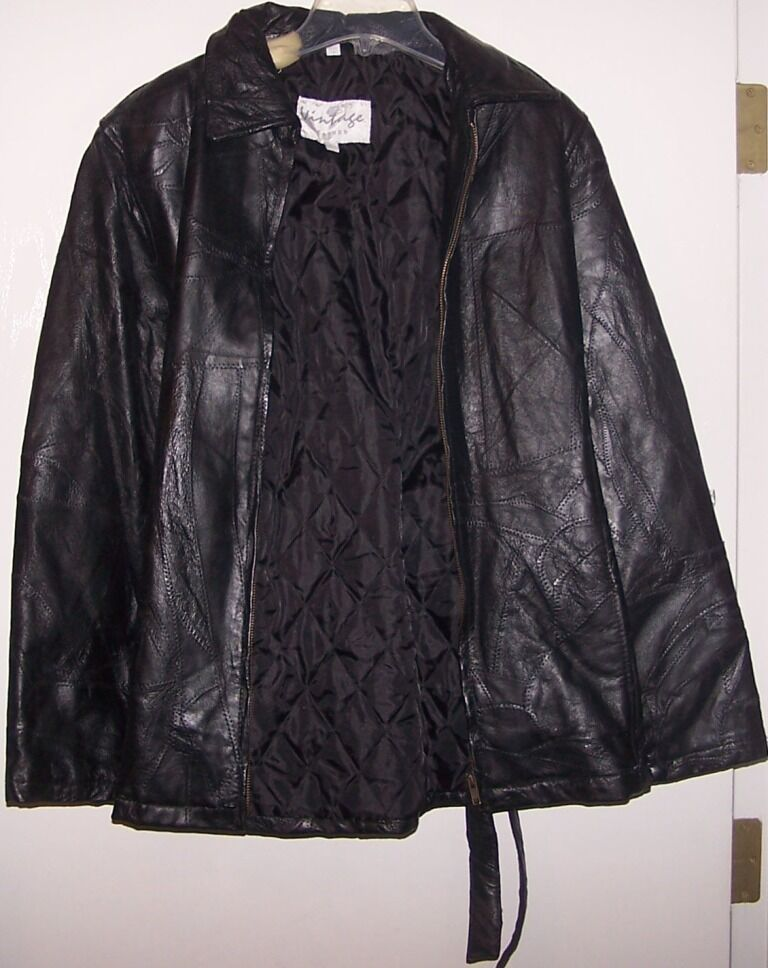 Vintage leather jacket large ebay for Leather jacket and shirt