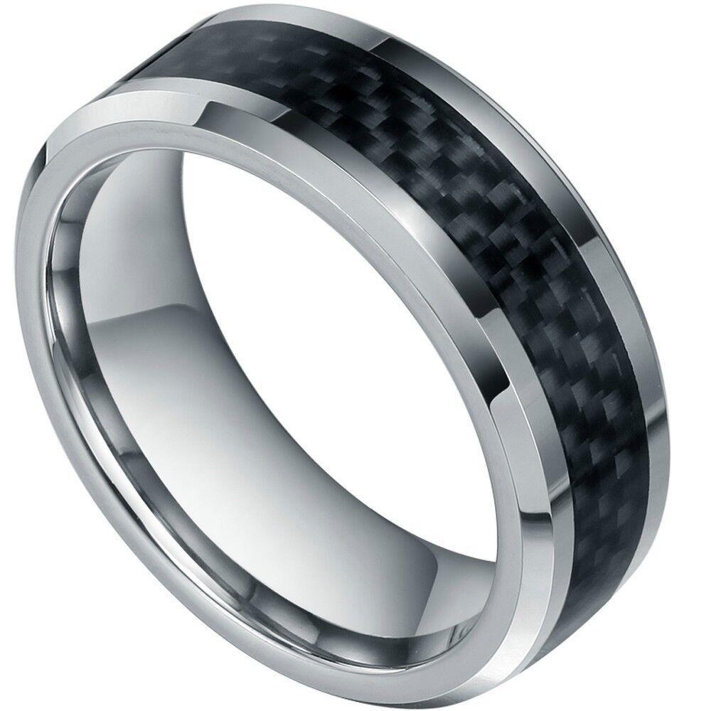 8mm new mens black carbon fiber tungsten carbide for Carbon fibre wedding ring