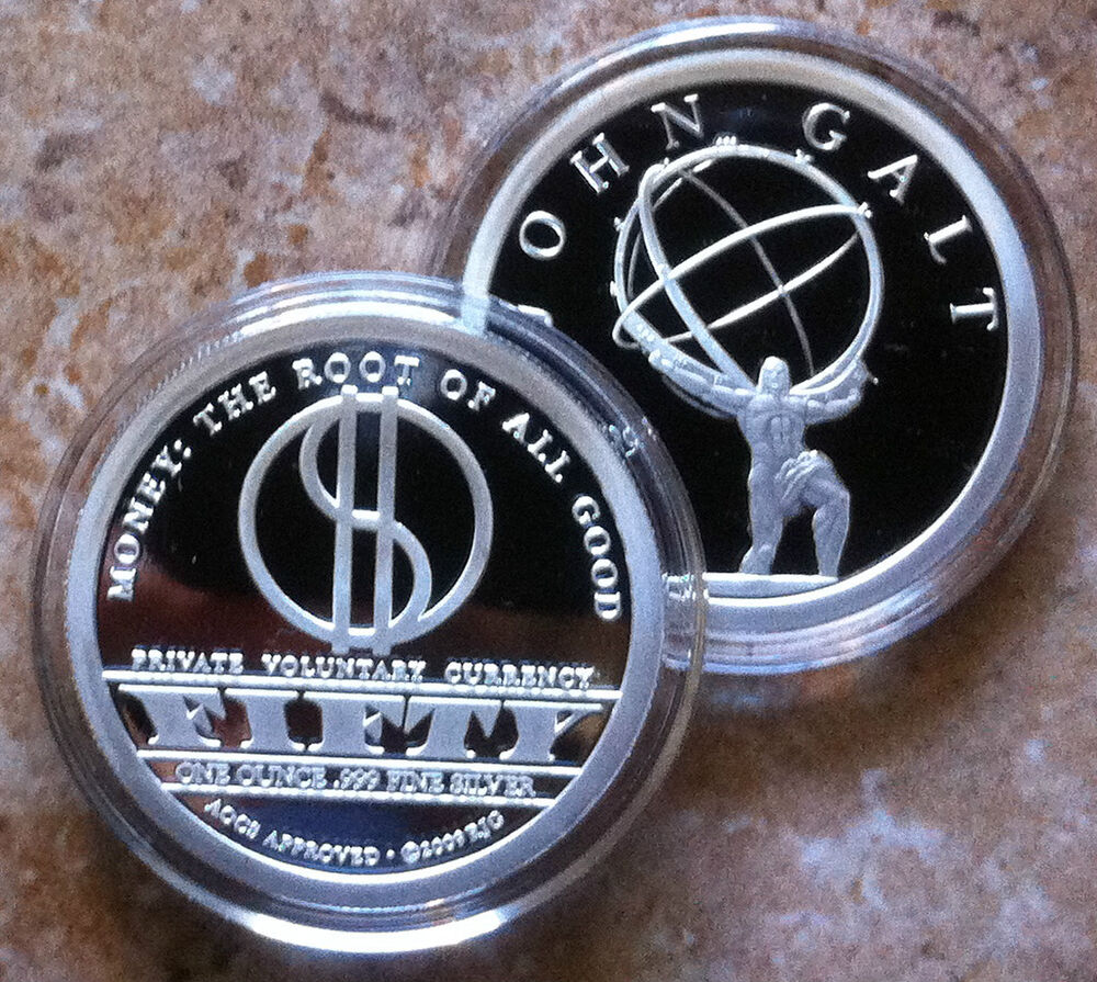1oz John Galt 999 Fine Proof Silver Atlas Shrugged Ayn