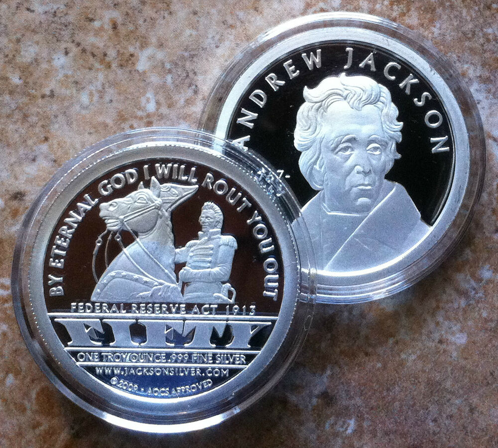 1oz Andrew Jackson 999 Fine Proof Silver Round Coin