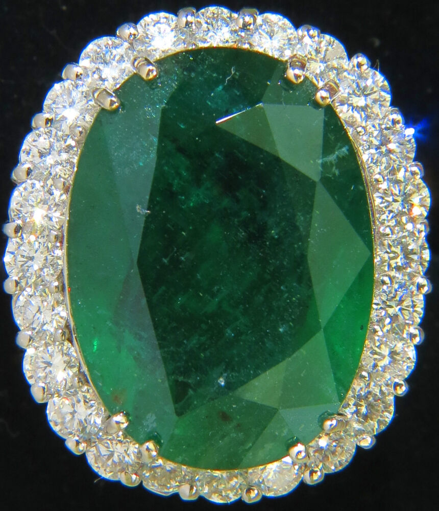$130,550 GIA 28.81CT NATURAL EMERALD DIAMOND RING HUGE A+ ...